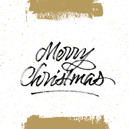 Merry Christmas brush calligraphy. Greeting card with handwritten lettering and hand drawn splattered background. Isolated on white.