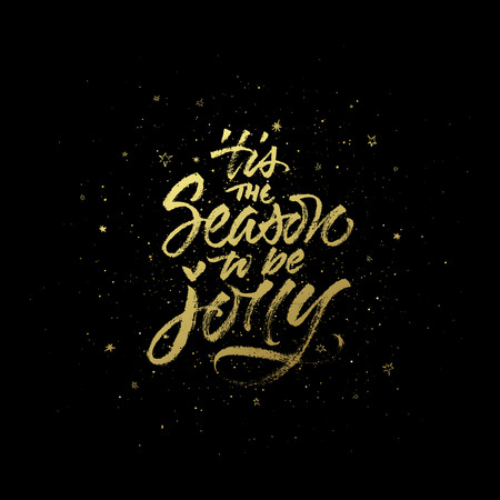 'tis the Season to be Jolly Christmas quote. Vector handwritten calligraphy on dark sparkling background.