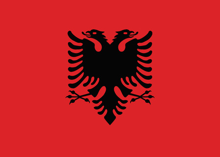 double headed: Flag of Albania vector Illustration