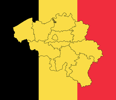 shiny black: Map and flag of Belgium