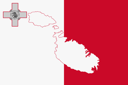 white coat: Map and flag of Malta