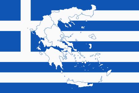 Karte und Flagge von Griechenland