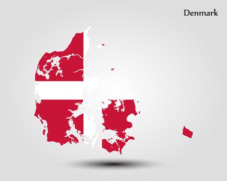 danish flag: map of Denmark vector Illustration