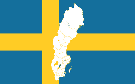 Map and flag of Sweden