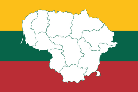 Map and flag of Lithuania