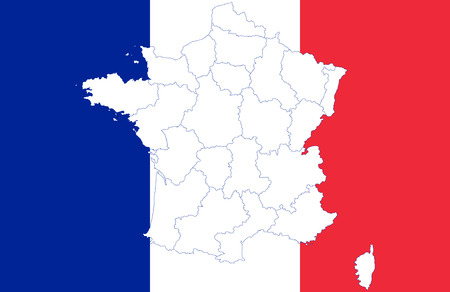 corsica: Map and flag of France