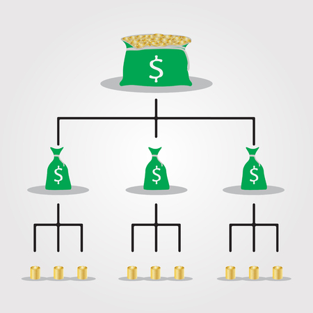Financial pyramid scheme, business mlm, network marketing. Ilustrace