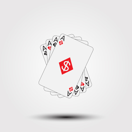 ace of hearts: Vector illustration Playing Poker Cards. Winning hand.
