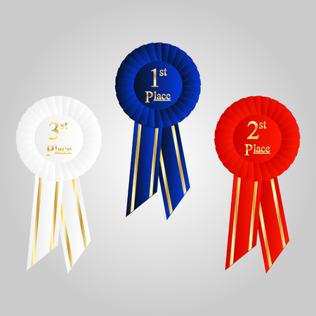 Winner Rosette Set with Ribbons. Cockade decoration element for first, second and third place.
