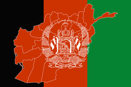 taliban: Map and flag of Afghanistan. Vector illustration. World map