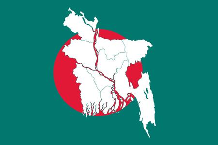 Map and flag of Bangladesh. Vector illustration. World map