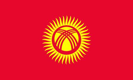 Flag of Kyrgyzstan. Vector illustration. World map