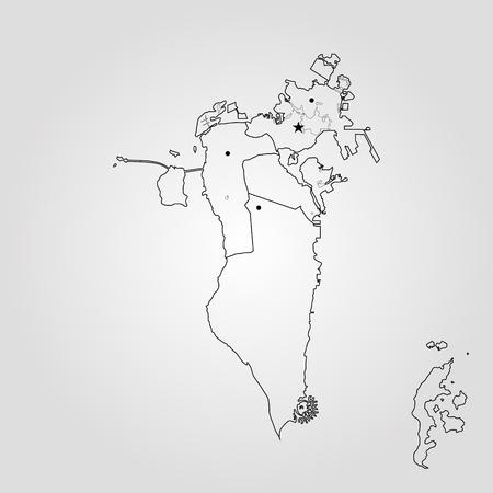 Kingdom of Bahrain map regions. Vector illustration. World map
