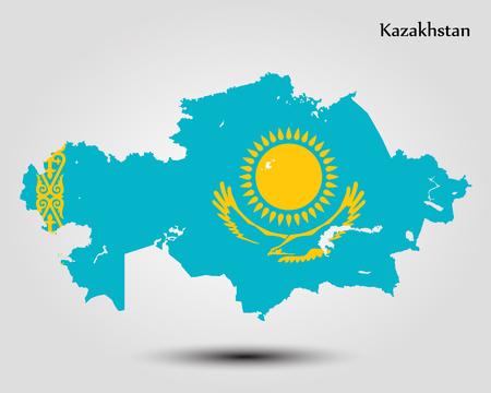 カザフスタンの地図。ベクトルの図。世界地図