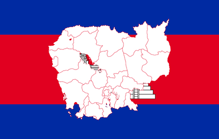 Map and flag of Cambodia. Vector illustration. World map