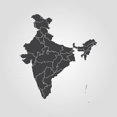 Kaart van India. Vector illustratie. Wereldkaart