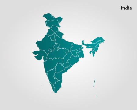 Mapa Indii. Ilustracji wektorowych. Mapa świata