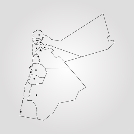 Map of Jordan. Vector illustration. World map