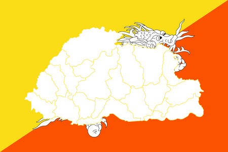 mainland: Map and flag of Bhutan. Vector illustration. World map