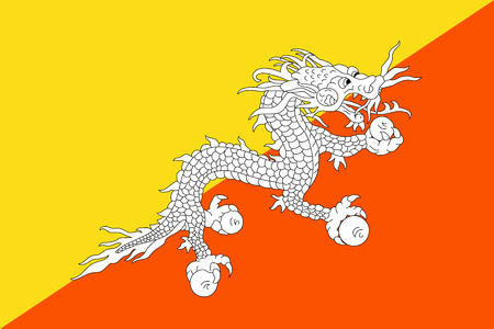 Flag of Bhutan. Vector illustration. World flag Illustration
