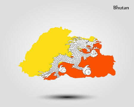 Map of Bhutan. Vector illustration. World map