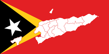 Map and flag of East Timor. Vector illustration. World map