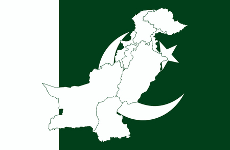 Map and flag of Pakistan. Vector illustration. World map Illustration
