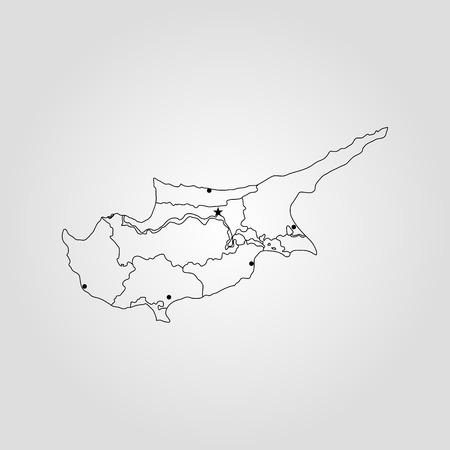 Mappa di Cipro. Illustrazione vettoriale Mappa del mondo