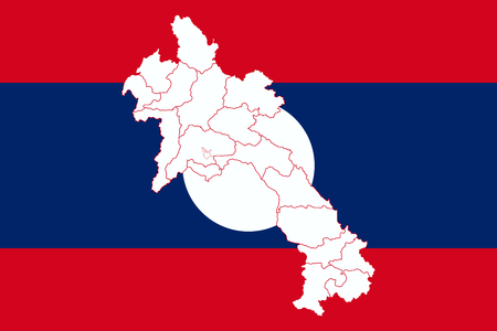 Map and flag of Laos. Vector illustration. World map Illustration