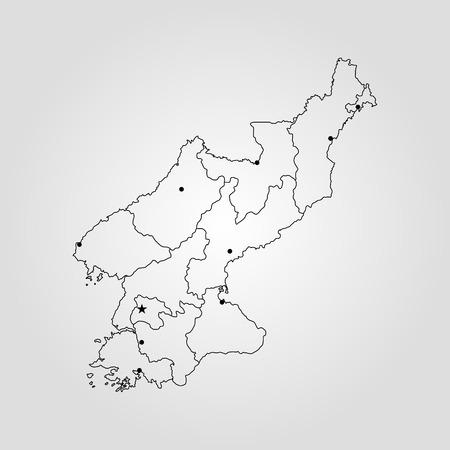 Map of North Korea. Vector illustration. World map Ilustrace