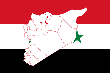 mainland: Map and flag of Syria. Vector illustration. World map
