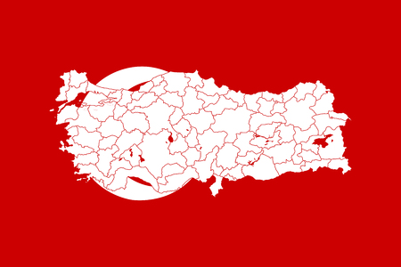 Map and flag of Turkey. Vector illustration. World map