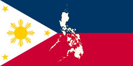 地図とフィリピンの旗。ベクトルの図。世界地図