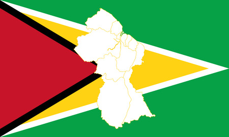 Map and flag of Guyana. Vector illustration. World map