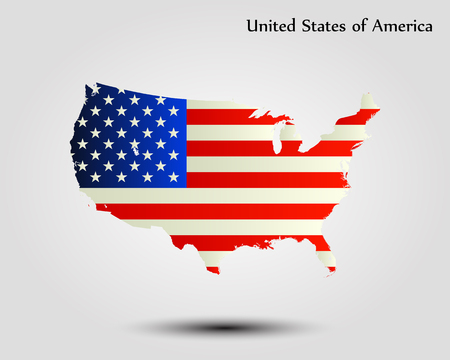 Map of the United States of America. Vector illustration. World map