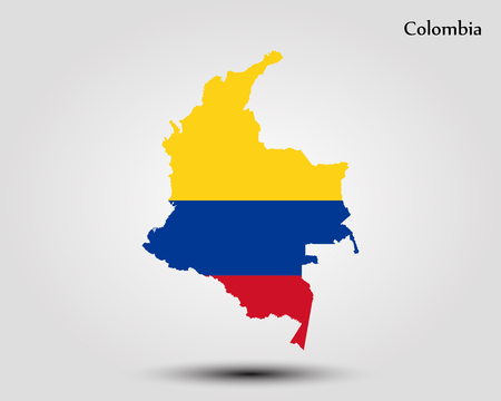Map of Colombia. Vector illustration. World map  イラスト・ベクター素材