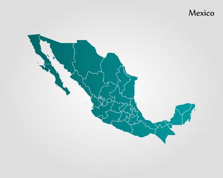 メキシコの地図。ベクトルの図。世界地図  イラスト・ベクター素材