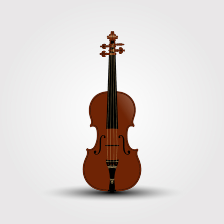 Musical brown violin with shadow. Vector Illustration