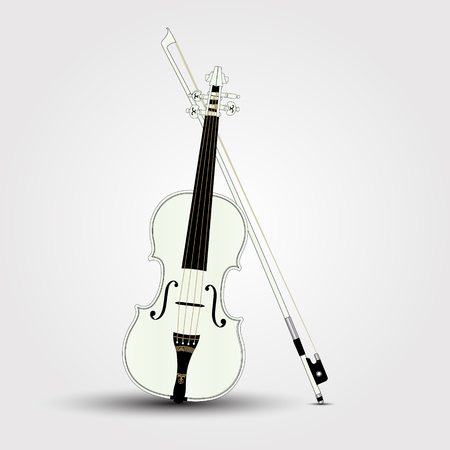 White violin and bow with shadow. Vector Illustration