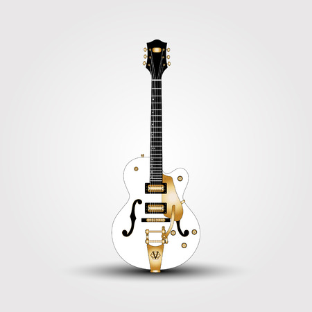 White guitar. Beautiful, semi-acoustic guitar with a white two pickups. Vector Illustration Illustration
