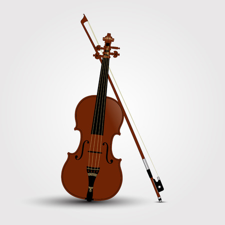 Brown violin and bow with shadow. Vector Illustration
