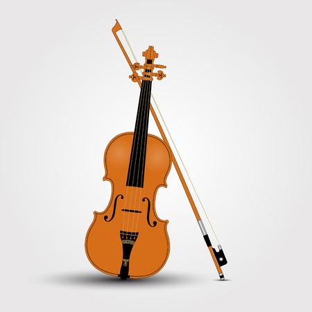 Light brown violin and bow. Vector Illustration 일러스트