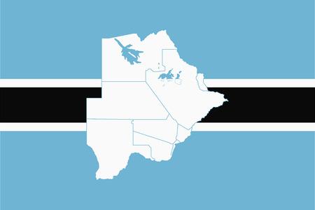 Mappa e bandiera del Botswana. Illustrazione vettoriale Mappa del mondo