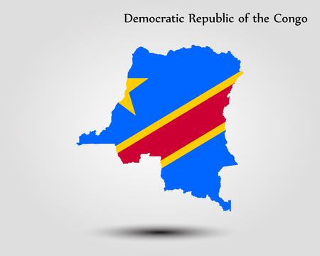 Map of Democratic Republic of the Congo. Vector illustration. World map Illustration
