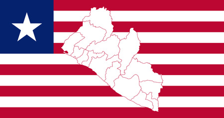 Map and flag of Liberia. Vector illustration. World map