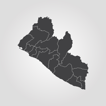 Map of Liberia. Vector illustration. World map Vettoriali