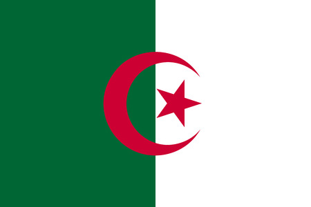 Flag of Algeria. Vector illustration. World map Illustration
