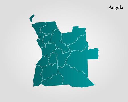 アンゴラの地図。ベクトルの図。世界地図