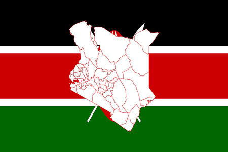 Map and flag of Kenya. Vector illustration. World map