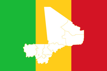 Map and flag of Mali. Vector illustration. World map